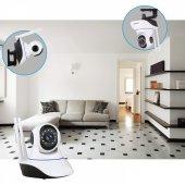Kablosuz Wifi İp Kamera 1080P Full HD 3 MP Hareketli Kamera Gece Görüşlü Beyaz-4