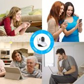Kablosuz Wifi İp Kamera 1080P Full HD 3 MP Hareketli Kamera Gece Görüşlü Beyaz-5