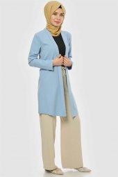 Pervazlı Uzun Bebe Mavi Ceket-3