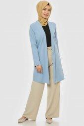 Pervazlı Uzun Bebe Mavi Ceket-4