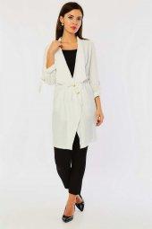 Beli Bağlamalı Beyaz Ceket-2
