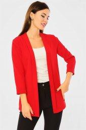 Pervazlı Kısa Kırmızı Ceket-3