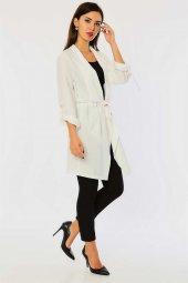 Beli Bağlamalı Beyaz Ceket-3