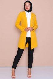 Pervazlı Uzun Hardal Ceket