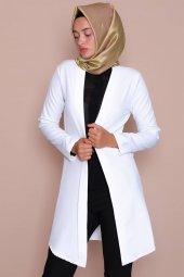 Pervazlı Uzun Beyaz Ceket-4