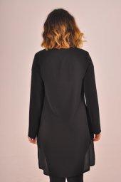 Uzun Siyah Elbise Byn Beyaz Yırtmaç Detaylı