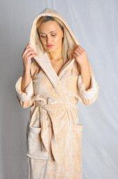 Uzun Kadın Bornoz Welsoft Yumuşak Kumaş Elt122
