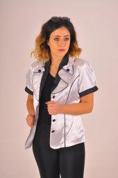 Beyaz Nostaljik Yaka Siyah Düğmeli Bayan Ceket 2130 2 118
