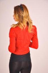 Kırmızı düz manşet detay bayan ceket 2125-4-260-2