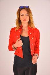 Kırmızı düz manşet detay bayan ceket 2125-4-260-3