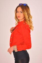 Kırmızı düz manşet detay bayan ceket 2125-4-260-4