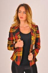 Hardal desen kırmızı şeritli bayan ceket 2390-4-650