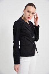 siyah düz manşet detay bayan ceket 2208-4-260 -2