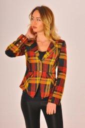 Hardal desen kırmızı şeritli bayan ceket 2390-4-650-2
