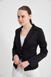 siyah düz manşet detay bayan ceket 2208-4-260 -3
