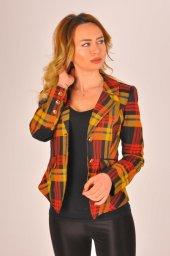 Hardal desen kırmızı şeritli bayan ceket 2390-4-650-3