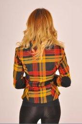 Hardal desen kırmızı şeritli bayan ceket 2390-4-650-4