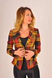 Hardal desen kırmızı şeritli bayan ceket 2390-4-650-5