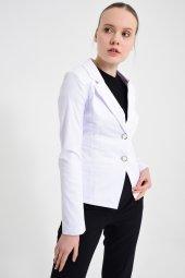Beyaz  düz renk bayan ceket 2432-4-260 -4