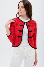 Siyah Şeritli Kırmızı Bayan Ceket 7270 2705 3 933