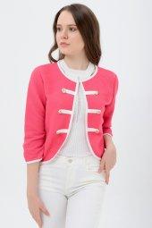 Beyaz Şeritli Kırmızı Bayan Ceket 7270 2705 3 933
