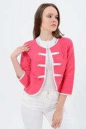 Beyaz şeritli kırmızı bayan ceket 7270-2705-3-933-2