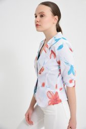 Beyaz Çiçek Desen Bayan Ceket 2270 3 .6
