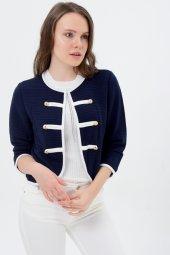 Beyaz Şeritli Lacivert Bayan Ceket 7270 2705