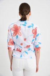 Beyaz çiçek desen bayan ceket  2270-3-.6 -2