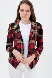 Kırmızı hardal şeritli bayan ceket 2390-4-650