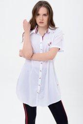 Büyük Beden Bayan Beyaz Tunik Gömlek