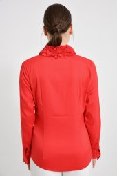 Büyük beden kırmızı bayan bluz  4420-4 232-2