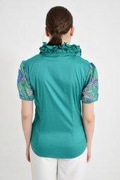 Büyük Yeşil Şifon Kol Bayan Bluz 4430 2