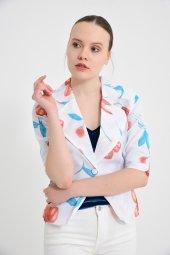 Beyaz çiçek desen bayan ceket  2270-3-.6 -5