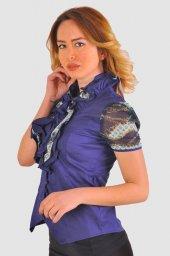Bayan lacivert  bluz gömlek 4430-2-232-2