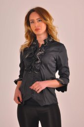 Büyük Beden Bayan Siyah Bluz Gömlek 4430 2 232