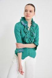 Yeşil fırfırlı bayan bluz 4430-3 -2