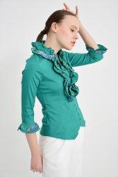 Yeşil fırfırlı bayan bluz 4430-3 -3