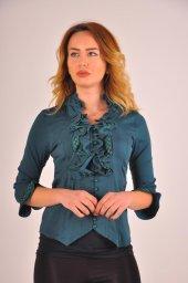 Bayan yeşil bluz gömlek 4430-2-232