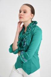 Yeşil fırfırlı bayan bluz 4430-3 -4