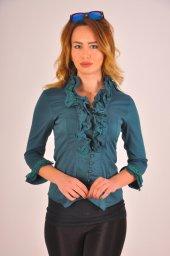 Bayan Koyu Yeşil Bluz Gömlek 4430 2 232
