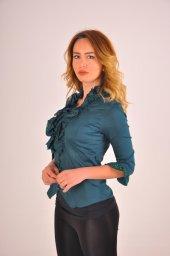 Bayan yeşil bluz gömlek 4430-2-232-2