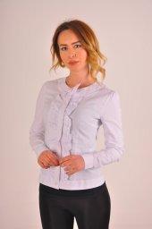 ön Fırfırlı Beyaz Bayan Bluz Gömlek 4550 4 .9