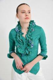 Yeşil fırfırlı bayan bluz 4430-3 -5