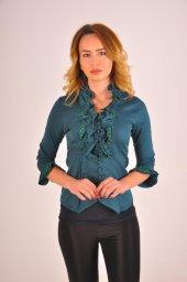 Bayan yeşil bluz gömlek 4430-2-232-3