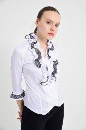 Beyaz püsküllü bayan bluz 4430-2-232-3