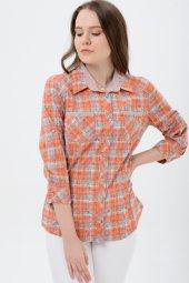 Büyük Beden Uzun Kol Turuncu Desenli Gömlek 5115 3