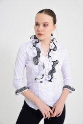 Beyaz püsküllü bayan bluz 4430-2-232-4