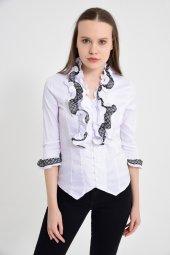 Beyaz püsküllü bayan bluz 4430-2-232-5