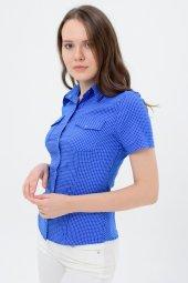 Mavi Kısa Kol Bayan Gömlek 2815 2